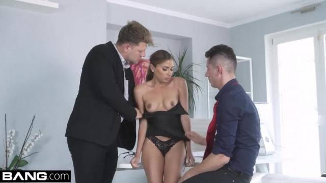 Watch this latina give blowjobs and getting fucked by 2 guys