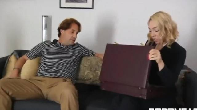 Blonde cougar getting ravaged by angry dude