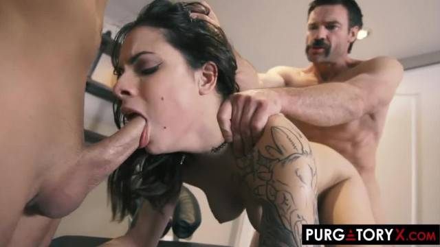 Cuckold watches his wife get fucked by two guys in the same time