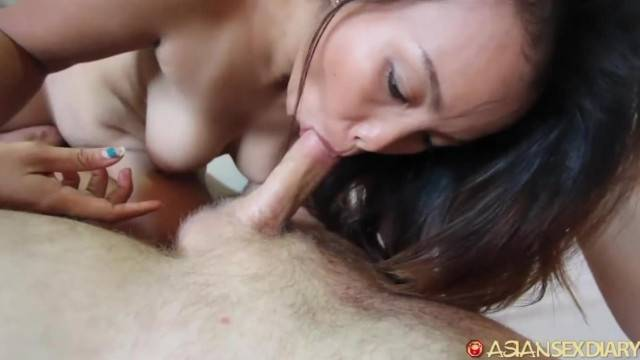 Asian babe with hairy pussy gets pounded and creampied