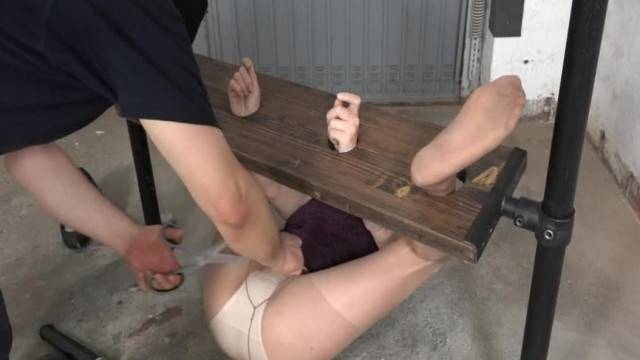 Tied up slave endures fisting and sex machine sex