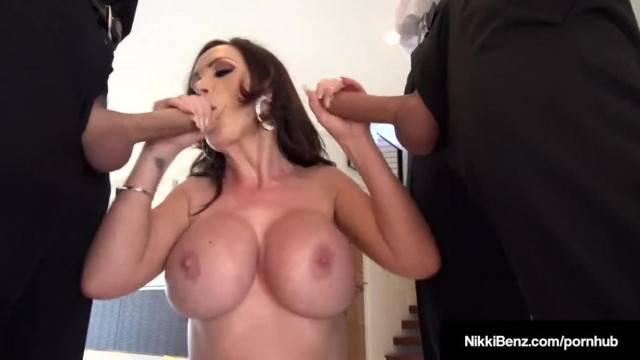 Hot Babe Nikki Benz Takes Turns Sucking and Fucking 2 Cocks