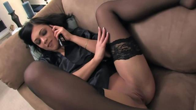 Petite Cutie Mandy Masturbating on the Phone in Black Thigh High Stockings