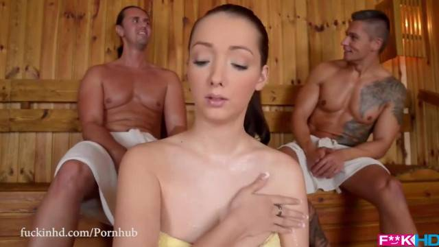 FuckinHD Lucie Wilde Hot Fuck with 2 Guys in the Sauna
