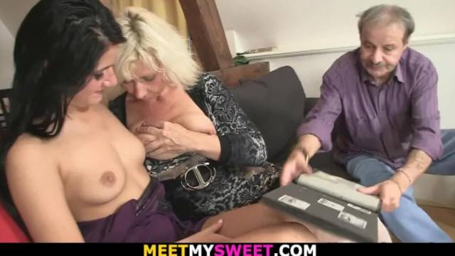 69 with his old Mom and Riding Dad Cock