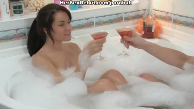 Nude Teen Couple Entertaining in the Foamed Bath