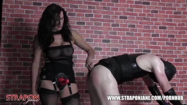 Femdom Strapon Jane Dominates Fucks Tight Leather TGirls Horny Wet Pussy