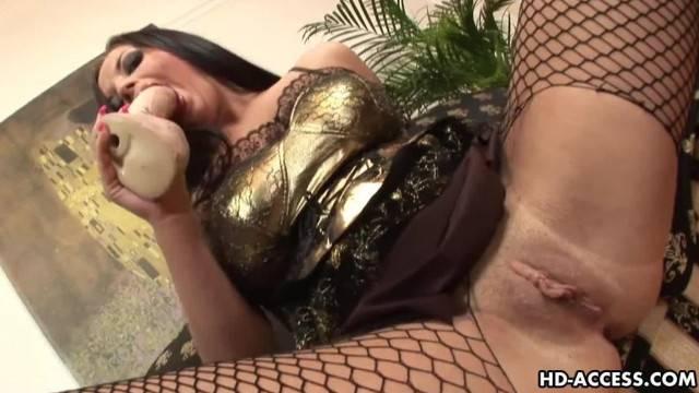 Dreamy Brunette in Fishnet Stockings Enjoys Anal Sex