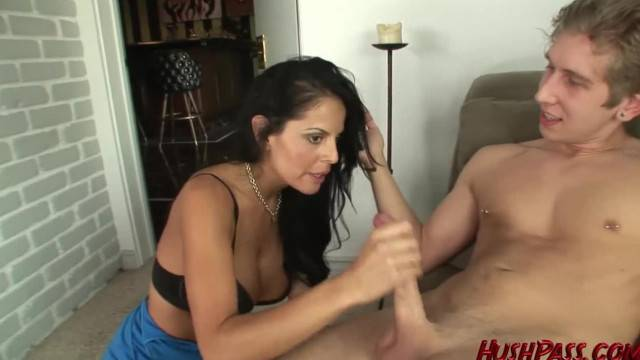Hot busty MILF Mikayla sucks and fucks young long dick