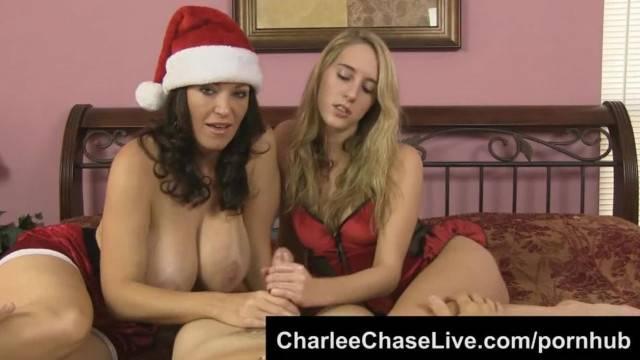 Big Tit MILF Charlee Chase Helps Give Santa a Double handjob