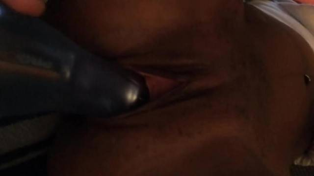 Amateur horny babe fucks vibrator in close up