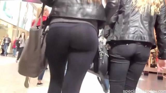 Public Teen in Hot Black Leggings