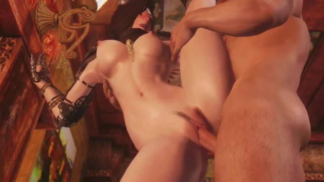 Busty 3D anime babe rides huge hard cock