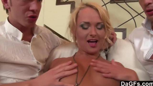 Horny Blonde taking on two Dicks