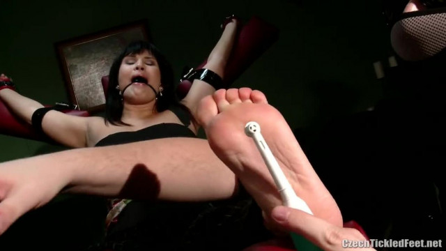 Real Estate Agent Nina immobilized and Foot Tickled