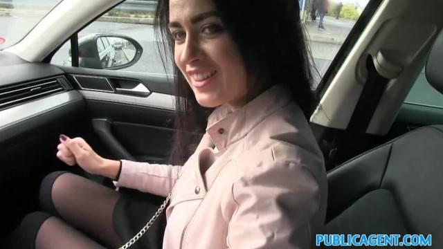 PublicAgent Cute Black Hair Russian Babe Sucks and Fucks Stranger for Cash