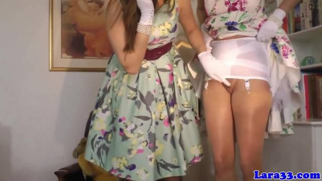 Posh British Cougar and Teen Playful Lesbian Fun