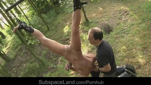 Brunette Serf Outdoor Hogtied Naked and Put to Suck