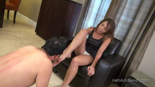 Humiliation and foot domination with bratty cute babe