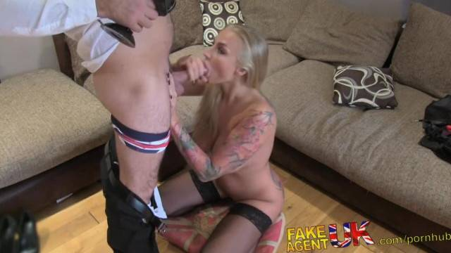 Hot Tattooed Babe Swallows Cumshot in Casting