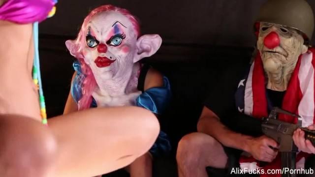 Crazy Clown Strip Club Lesbian Fucking with Alix and Leya