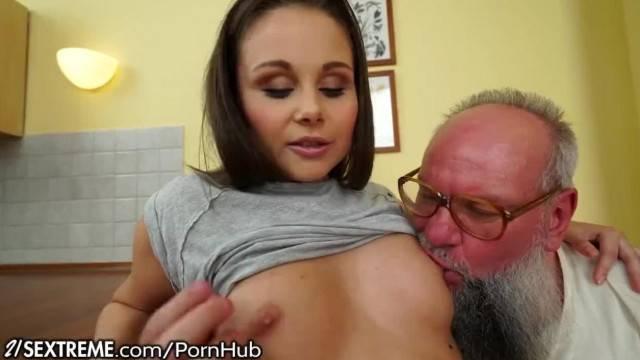 Teen Brings pervy Grandpa her used Panties for quick fuck