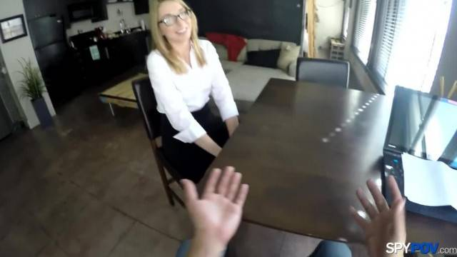 Nerdy blonde fucked during job interview
