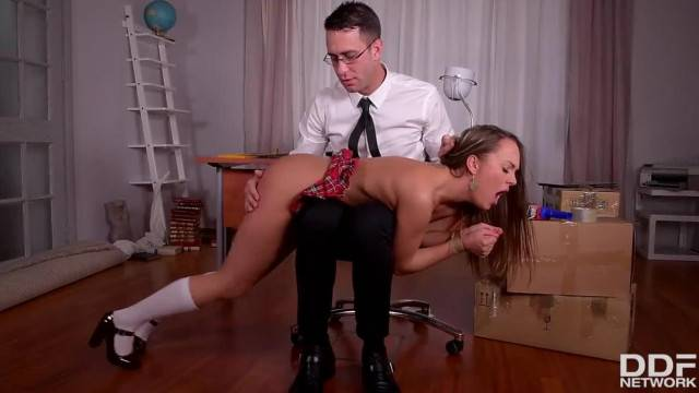 Naughty Schoolgirl Blue Angel Dominated and Fucked by Teacher