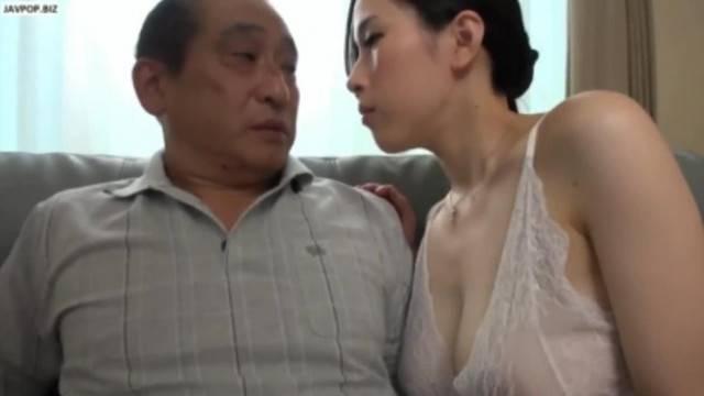 Slutty asian babe seduces and fucks grandpa