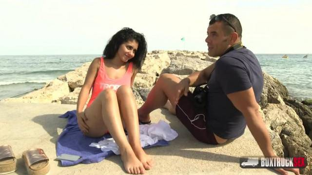 Dark Haired Beauty Aysha Aggrees a Free Massage at Beach