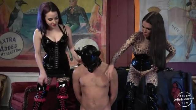 Slave Kicked in the dick by two mistresses
