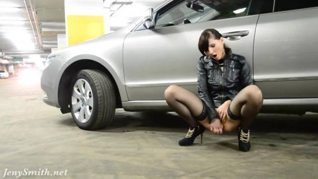 Jeny Smith shows her pussy in public Parking