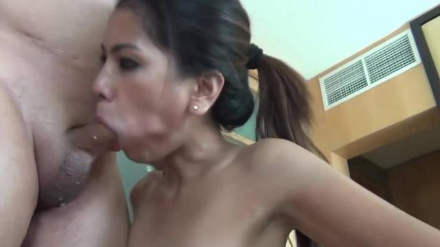 Asian cute submissive Deepthroats on cock