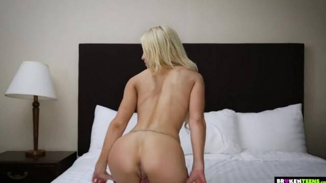 POV Blonde Teen with Big Tits gets a Big Load on her Belly BrokenTeens