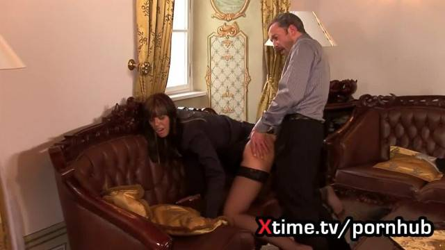 Boss spreads his secretary tiny ass with his hard dick