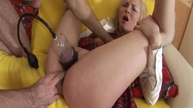 Horny Teen Pumped and Deepthroat Gagging