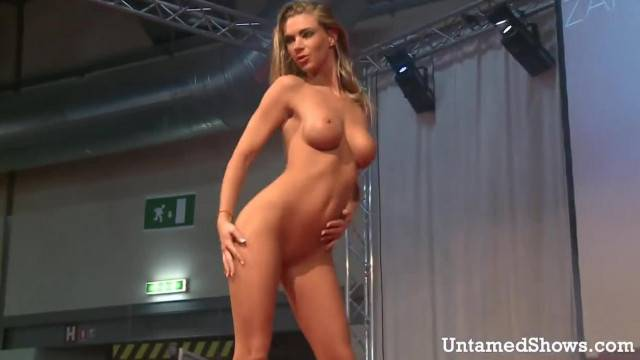 Slutty Stripper Oiling her Sexy Body on the Stage