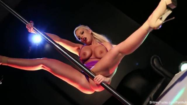 Blonde Hottie Britney Teases and Masturbates on the Pole