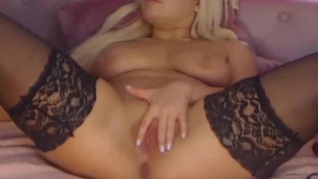 Juicy Blond in Stockings having Fun with Toys and Fingers