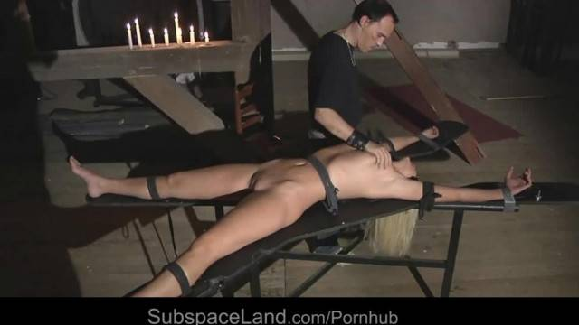 Super Sexy Blonde Tied up for Pain and Fuck