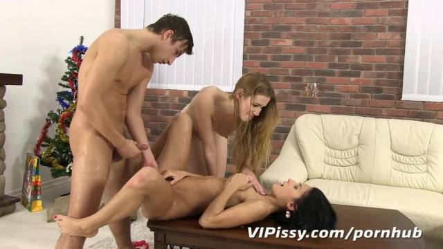 Perky Young Girlfriends Share Cock and Piss