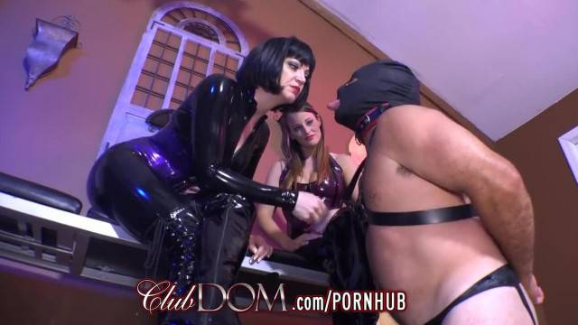 FemDom Slaves have Dick Tug of War