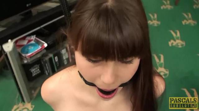 Teenie mouth gagged and rammed from behind while cumming