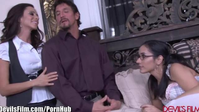 Latina Step Mom and Guy Teach her Daughter Fucking