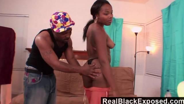 RealBlackExposed she Spreads Wide for Shorty s Monster Dick