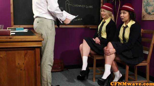 Dominant Schoolgirl Humiliate Naked Teacher
