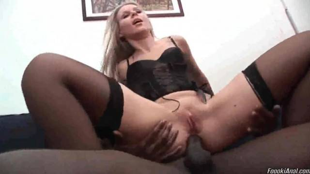 Blonde in Stocking Takes BBC in her Ass
