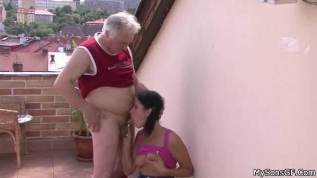 Pigtailed Brunette Rides old Man Cock