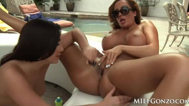 Outdoor toy fuck with busty lesbian chicks