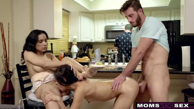 Horny Wife makes Step Daughter Share Cock while Dad Cooks